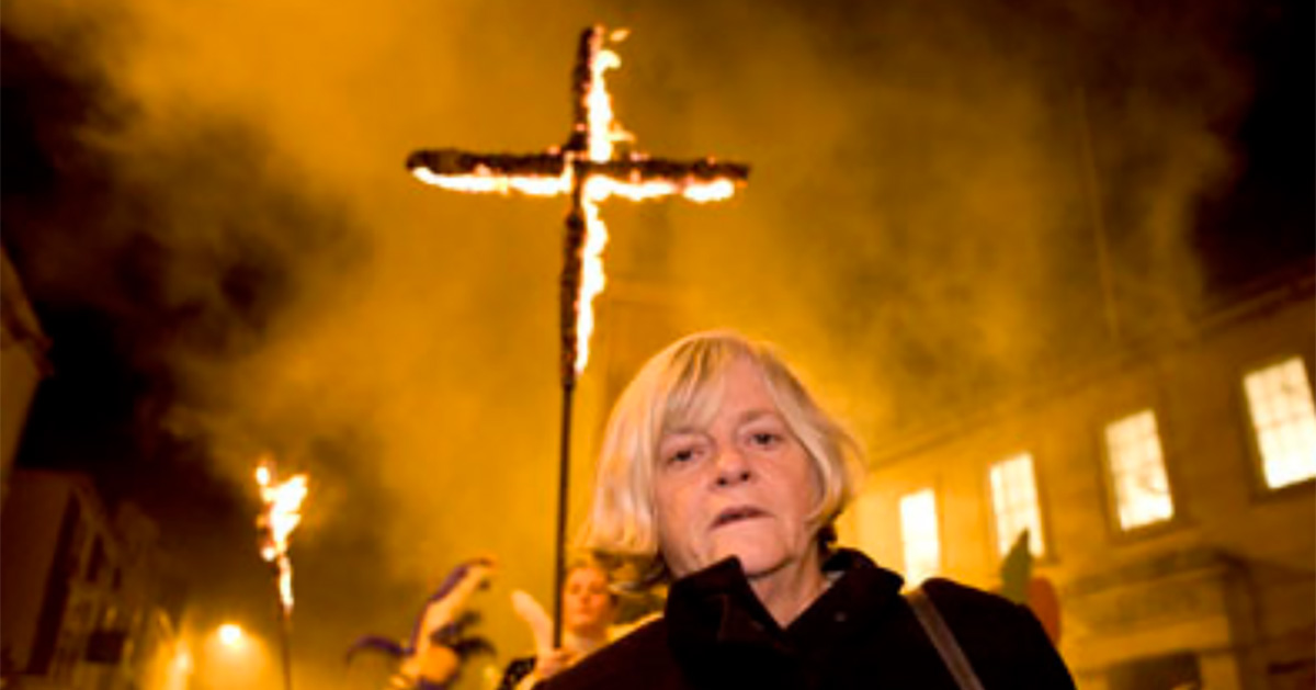 Ann Widdecombe MEP with a burning cross.